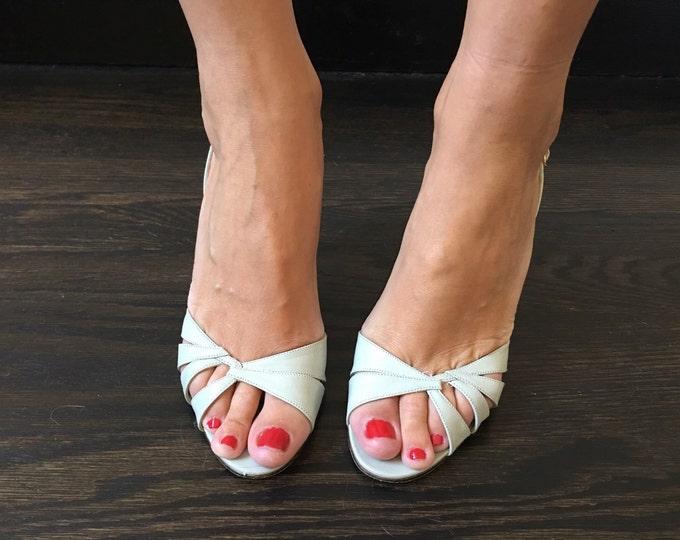 Vintage Gray Strappy Heels