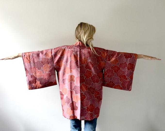 Vintage Haori Kimono Silk Jacket Plum Flowers