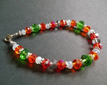 OOAK Orange Green Red White & Silver Accent Glass Bead Bracelet