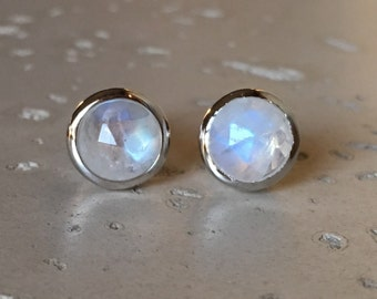 Faceted Rainbow Moonstone Earring- Round Moonstone Stud- Sterling Silver Bezel Earring- Rose Cut Earring- June Birthstone Stud Earring