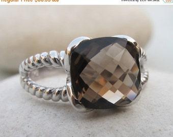 SALE Smoky Quartz Ring- Quartz Ring- Silver Ring- Silver Ring- Stone Ring- Silver Stone Ring- Gemstone Ring- Topaz Ring- Smoky Topaz Ring- R
