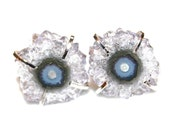 White Stalactite Earring Stalactite Jewelry Prong Earring Raw Gemstone Earring Druzy Earring Drusy Earring Amethyst Earring Delicate Earring