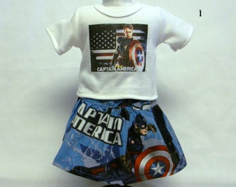 Captain America Theme Outfit  (1) For 18 Inch Doll Like The American Girl