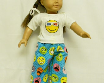 Smiley Faced Pajamas With Slippers For 18 Inch Doll Like The American Girl