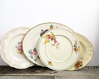 Vintage Serving Platter - 4 Mismatched Plates - Flea Market Chic