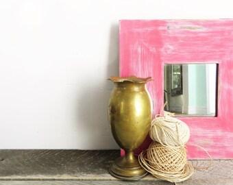 SALE - Pretty Pink Mirror - Shabby Chic Distressed - Feminine Decor - Girls Room