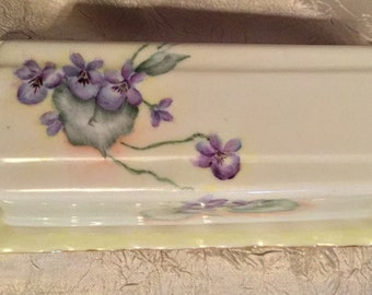 RARE Vintage Forsyth 1950 Glass Butter Dish with Delicate Lavender Flowers for your Vintage Kitchen