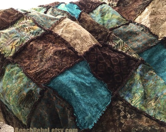 "Batik rag quilt full size or bed coverlet in warm browns, teal, tan and turquoise 81""x90"""