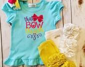 That Bow Though Aqua Puff Sleeve Ruffle shirt- m2m sew sassy