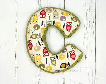 "Baby shower gift or photo prop pillow for nursery room decor - letter C pillow - 30 cm * 20 cm / 11.8"" x 8"""