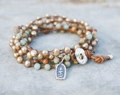 Yoga Bracelet - Beaded Wrap Bracelet - Impression Jasper and pearl bracelet - Buddha Bracelet
