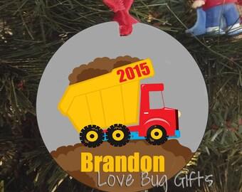 Personalized Dumptruck • Christmas Ornament • Little boy