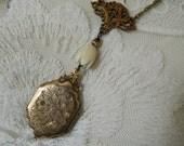 Gold Victorian Locket Assemblage Necklace