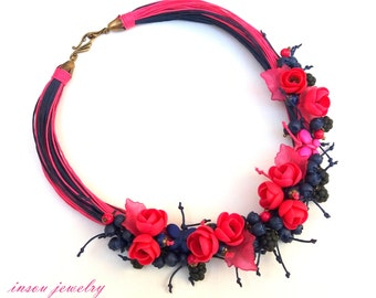 Statement Necklace, Flower Necklace, Flower Jewelry, Hot Pink Jewelry, Blue Jewelry, Handmade Necklace, Floral Fashion, Gift For Her, Floral