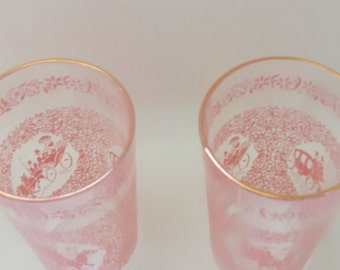 1940s Pink and Gold Drinking Tumblers - Set of 2