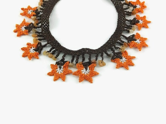 Crochet Statement Necklace ~ Orange Floral Thread ~ Spring Gift for Her, Mother's Day   ~ Boho Chic Statement Jewelry