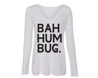 Bah Hum Bug Flowy Long Sleeve Tee Christmas Holiday Shirt