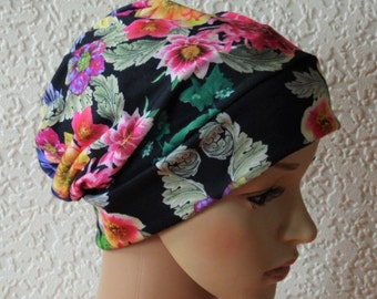 Summer beanie, chemo hat, jersey beanie, bad hair day head wear, chemo hat, floral beanie, chemo head covering, viscose jersey hat