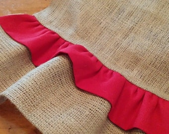 Natural Burlap Table Runner with Red Ruffles - Various Sizes NEW!!