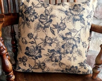 Natural & Navy Floral Print Burlap Pillow Cover - Various sizes