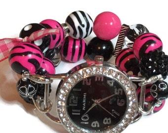 Hot Pink Zebra Printed Chunky Beaded Watch - BeadsnTime - Unique Watch - Apple Watch Band - Interchangeable Watch - Bracelet Watch - Watch