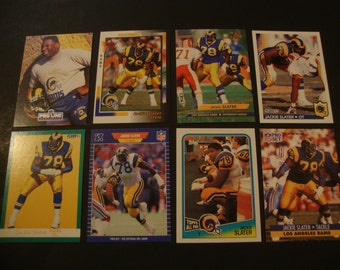 SALE - Vintage Lot of Jackie Slater Football Cards - Los Angeles Rams - l.a. - NFL - HOF - Hall Of Fame - Jackson State - .90 Cent Ship