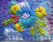 Textile aceo, textile atc, handmade felt, embroidered flowers
