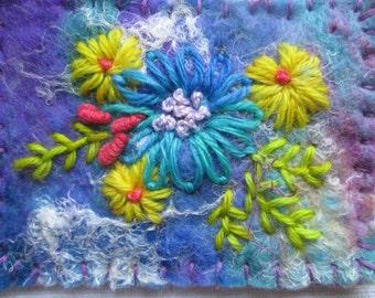Textile aceo, textile atc, handmade felt, embroidered flowers