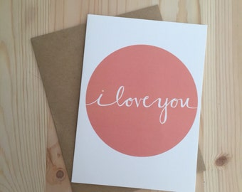 CLEAROUT//i love you greeting card // blank inside