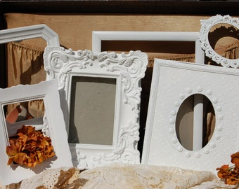 White Nursey  PICTURE FRAMES  -  Picture Frame Set - Wedding - Vintage Style
