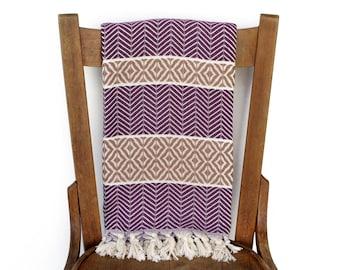 PESHTEMAL Turkish Bath Towel Sofa Throw Blanket Turkish Towel Beach Blanket Handwoven Cotton Blanket Fouta Shawl Sarong Purple Beige LALE