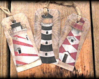 Lighthouse Hang Tags (Set of 6) FREE SHIPPING