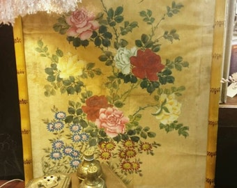 Vintage Signed Asian Oriental Chinese Floral and Bird Painting on Silk