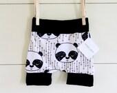 Handmade Hipster Baby Shorts | Baby Shorts | Baby Harems | Harem Shorts | Baby Girl Shorts | Baby Boy Shorts |Unisex| Panda Bear Print