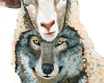 18x24, 9x12, or 38x50 Giclee Art print of original Wolf in Sheep's Skin painting by Natalie Jo Wright