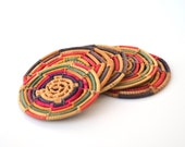 Vintage Coasters Set Of Seven Bright Colorful Woven From Mexico