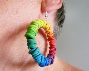 Rainbow dangling earrings/ circel of polymer clay wire beads in gradient rainbow colors on rubber band hanging on French hooks/ wire rainbow