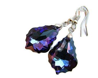 Violet Blue Earrings Swarovski Crystal Earrings Crystal Heliotrope Bridesmaids Bridal Jewelry Purple Earrings