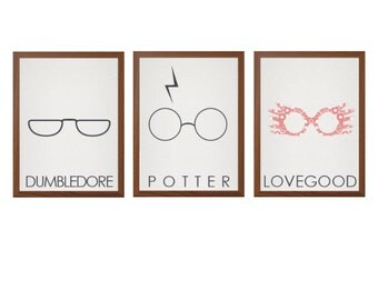 HARRY POTTER | Dumbledore Luna Lovegood Poster : Modern Illustration Glasses Movie Retro Art Wall Decor Print