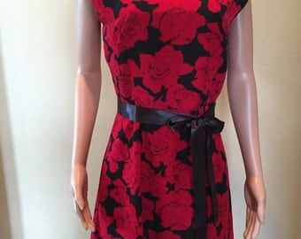 Black and Red Rose Career Dress