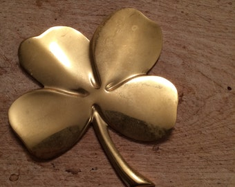 Vintage Gerity (G48) Gold Plated Shamrock Four-Leaf Clover Paperweight With Inscription