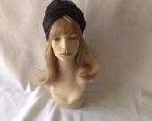Black Vintage Wedding Hat, Black Half Hat for Church, 1950s Hat, 1950s Vintage Hat, Black Retro Hat,