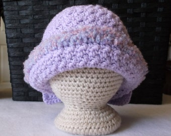 Baby Girl's Crocheted Lavender Baby Girl's Hat with Upturned Brim and Large Bow Baby Girl's Hat Light Purple Baby Hat Lilac