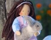 Amandine and her rabbit, waldorf figurine, waldorf doll