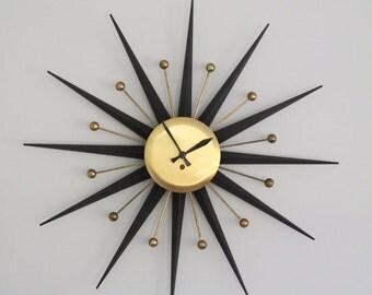 Vintage Starburst Atomic Clock Mid Century Modern Black and Brass Key Wind 8 Day Sunburst Metal