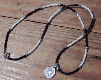 Yin Yang Beaded Necklace - Black and White Beaded Necklace with Metal Yin Yang Charm - Balance, Unity - Black and White