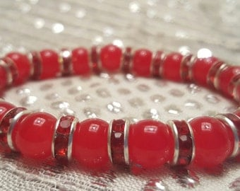 Lovely Cherry Red Beaded Stretchy Bracelet with Red Rhinestoned Spacers