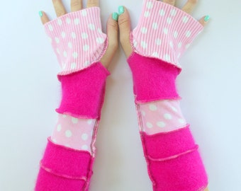 Recycled Fingerless Gloves - Pink Polka Dots - Best Friend Gift - Tattoo Coverup -  Biking - Texting - Typing - Festival - Bohemian Gypsy