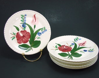 7 Blue Ridge Southern Pottery Bluebell Bouquet Dishes, 2 Salad Bread or Dessert Plates, 7 Blue Ridge Blue Bell Saucers