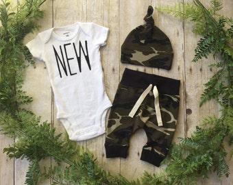 Newborn Boy Coming Home Outfit / Newborn Baby Boy Take Home Outfit / Newborn Camo Outfit // Camo Clothing Set // Preemie Clothes Boy //